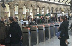 Shiny new stiles at Newcastle Central Station