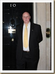 Peter Scargill outside Number 10