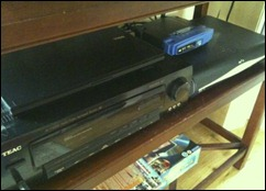Amplifier, Sky box and laptop as media centre