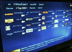 Media Centre displaying Shoutcast stations