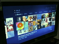 Media Centre showing music selection