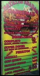 Street menu in Galera at the midnight market