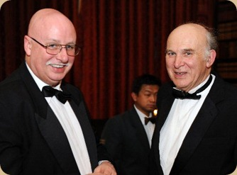 Peter Scargill with Vince Cable at the Federation of Small Businesse Annual Chairman's dinner in London 2011