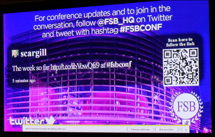 Twitter feed live at Conference