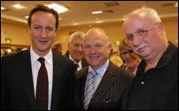 Peter Scargill with David Cameron and someone else pushing in!